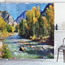 """Ambesonne Landscape Shower Curtain, Mountains of Colorado with Forest and River Summer Foliage Idyllic Photo, Cloth Fabric Bathroom Decor Set with Hooks, 84"""" Long Extra, Sage Green"""