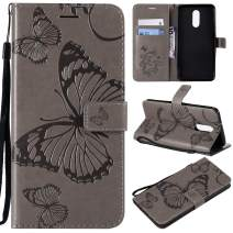 Cmeka Emboss Butterfly Wallet Case for LG Stylo 4,Wrist Strap,Flip PU Leather Magnetic Closure,Card Slots,Kickstand Function (Gray)