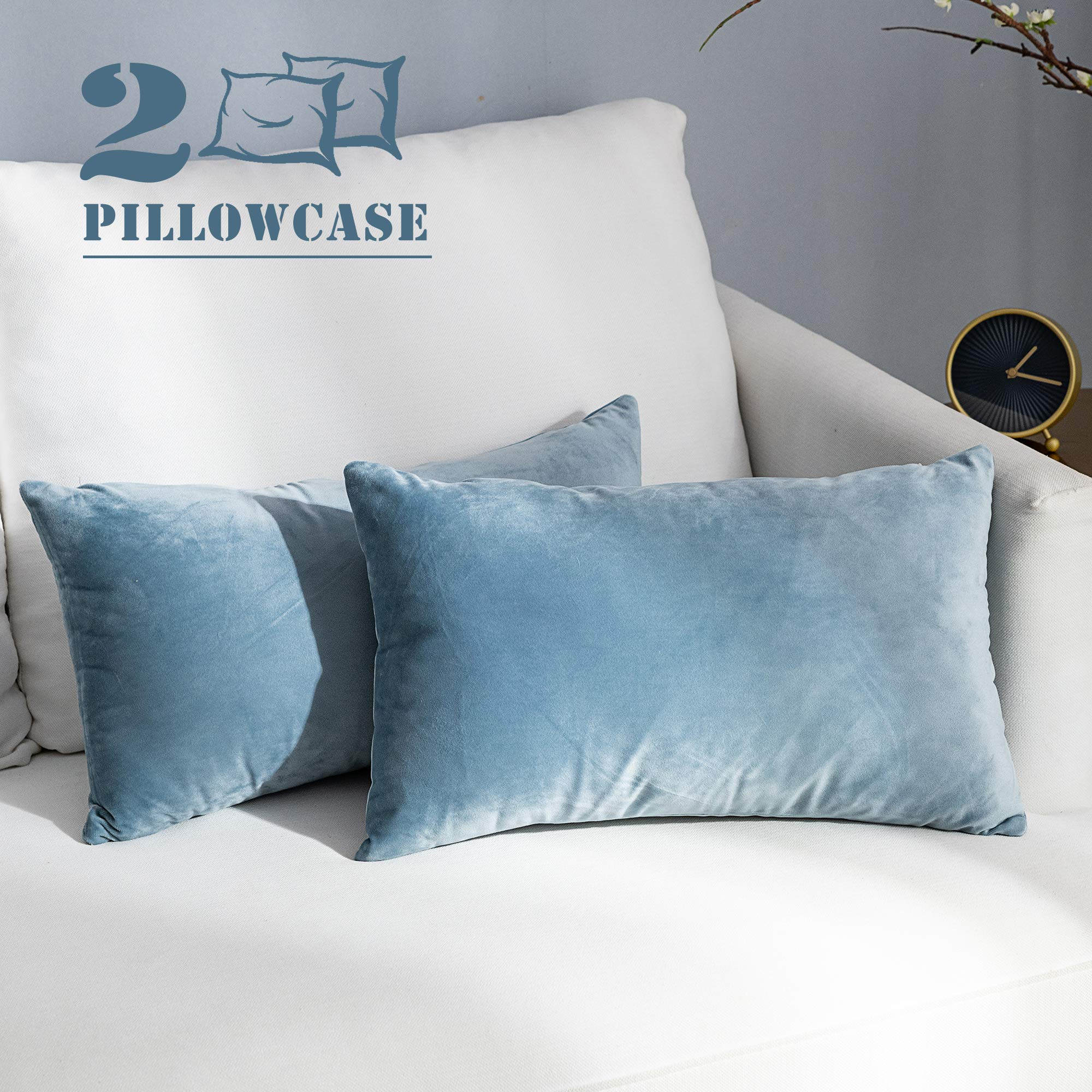 NANPIPER Set of 2 Velvet Soft Decorative Cushion Throw Pillow Covers 12x20 Inch/30x50 cm Cozy Solid Velvet Square Pillowcase Cushion Covers Blue Grey for Couch and Bed