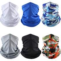 6 Pieces Summer UV Protection Face Cover Neck Gaiter Bandana Breathable Headwrap Cooling Face Cover for Camping Running Cycling Fishing Sport Hunting