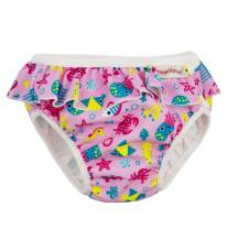 Imse Vimse Reusable Swim Diaper for Baby and Toddler Girls with Ruffle and Snaps (Pink Sea Life, SL 28-37 lbs)
