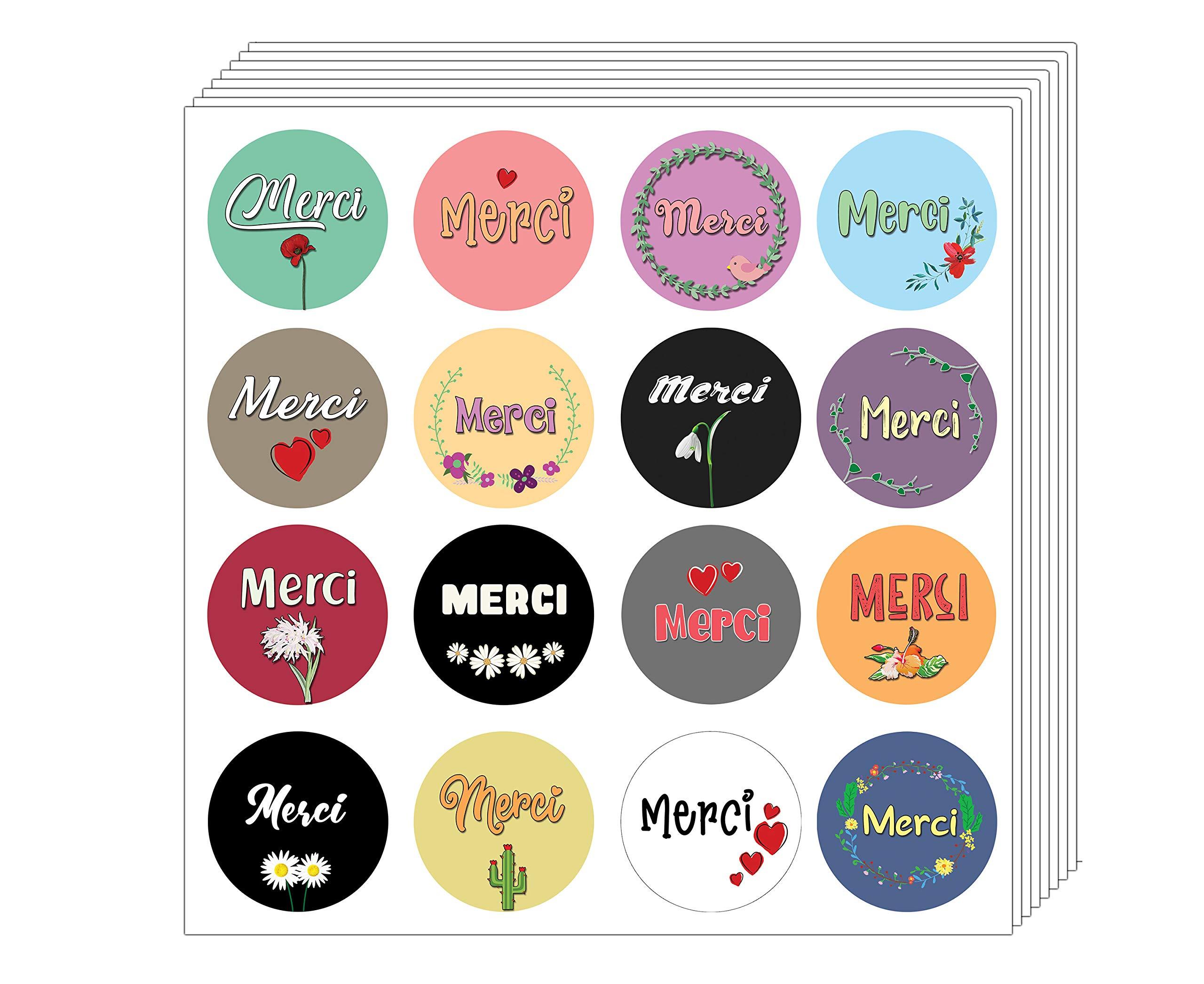 Creanoso Merci Stickers (5-Sheet) - Premium Quality Assorted Design - Stocking Stuffers Perfect Gift Idea Set for Girls, Boys, Men, Women