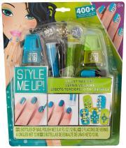 Style Me Up - Nail Art Set with Rhinestones - Nail Polish Kit for Girls - Kids Manicure Set - Blue and Green - SMU-1649