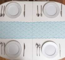 FEMINEN TEXTILE Turquoise Lace Table Runner 12 inches x 110 inches for Classy, Vintage and Boho Wedding and Reception Decorations