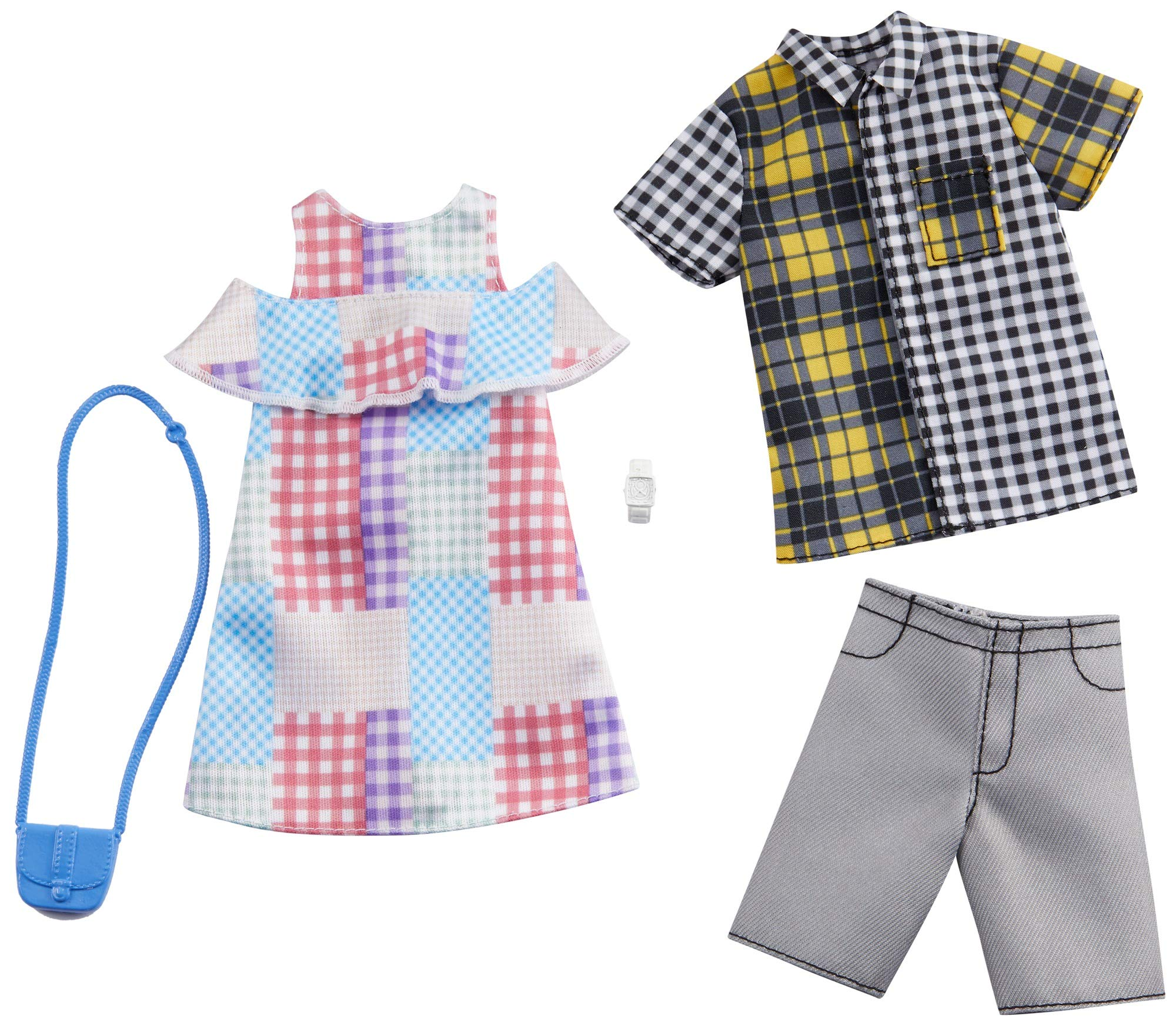 Barbie Fashion Pack with 1 Outfit of Gingham Patterned Dress & 1 Accessory Doll & Plaid Shirt, Shorts & Accessory for Ken Doll, Gift for 3 to 8 Year Olds
