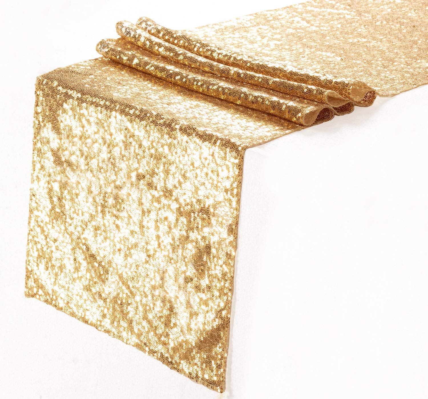 Eternal Beauty Sequin Table Runners Gold 12'' X 120'' Glitter Gold Table Runner-Gold Event Party Supplies Fabric Decorations for Wedding Birthday Baby Shower