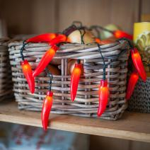 20 Red Chili Pepper Battery Operated LED Kitchen String Lights