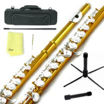 Sky C Flute with Lightweight Case, Cleaning Rod, Cloth, Joint Grease and Screw Driver -  Yellow/Silver Closed Hole