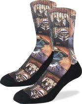 Good Luck Sock Men's Animal Mugshots Crew Socks,Black,Shoe Size: 8-13