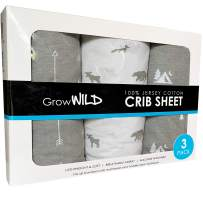GROW WILD Crib Sheet 3 Pack | 100% Cotton, Jersey Soft Fitted | Grey Baby Crib Sheets for Boys | Woodland Nursery or Toddler Bed Sheets