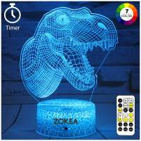 ZOKEA Dinosaur Toys, Dinosaur Gifts for Boys 7 Colors Changing 3D Dinosaur Night Light with Timer & Remote Control & Smart Touch, Birthday Gifts for Boys Girls Age 2 3 4 5 6 7+ Year Old Boy Gifts