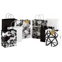 "Hallmark Black and White Paper Gift Bags Assortment (Pack of 8; 4 Medium 10"", 4 Large 13"") for Birthdays, Bridal Showers, Baby Showers, Weddings, Halloween or Any Occasion"