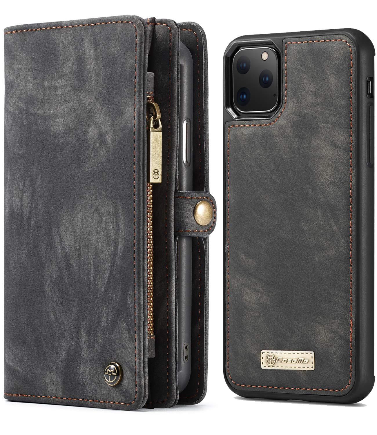 XRPow iPhone 11 Pro Max Wallet Case, [2 in 1 Detachable Magnetic] [Vegan Leather] Folio Card Pocket Clutch Case for iPhone 11 Pro Max (6.5Inch) Removable Slim Shock Protection Flip Cover - Black