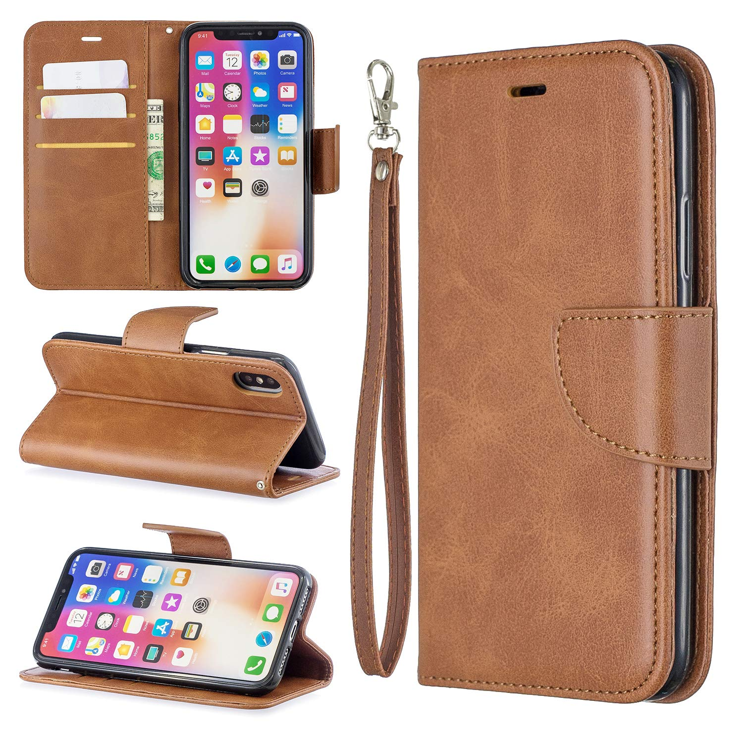 EYZUTAK Wallet Case for iPhone X/XS, Soft Printed PU Leather Phone Case Full Protection Solid Color Magnetic Flip Buckle Case Kickstand Cover for iPhone X/XS - Brown