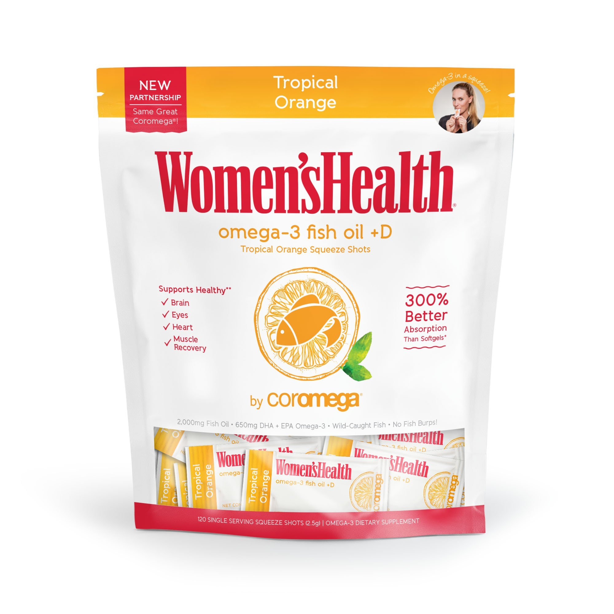 Coromega Women's Health Omega 3 Fish Oil Supplement, 650mg of Omega-3s with 3X Better Absorption Than Softgels, Tropical Orange Flavor, 120 Single Serve Squeeze Packets