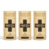 PATCH Eco-Friendly Organic Bamboo Bandage for Bites & Splinters Hypoallergenic Wound Care for Sensitive Skin Compostable Biodegradable Latex Free Plastic Free Zero Waste Activated Charcoal 25ct(3pack)