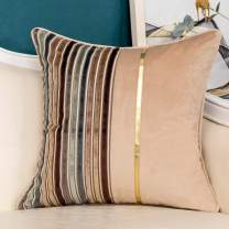 Yangest Coffee Brown Striped Patchwork Velvet Throw Pillow Cover Gold Leather Cushion Case Modern Neutral Pillowcase for Sofa Couch Bedroom Living Room Home Christmas Decoration,20x20 Inch