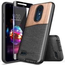 LG K30 Case, LG Premier Pro/Xpression Plus/Phoenix Plus /K10 2018 /Harmony 2 w/[Full Cover Tempered Glass Screen Protector] NageBee Premium [Natural Wood] Canvas Fabrics Shockproof Hybrid Case -Wood
