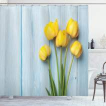 "Ambesonne Tulip Shower Curtain, Yellow Flowers on Old Wooden Rustic Background Valentines Romantic Theme, Cloth Fabric Bathroom Decor Set with Hooks, 70"" Long, Blue Yellow"