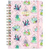 """2021 Planner - Weekly & Monthly Planner with Tabs, 6.3"""" x 8.4"""", Jan. - Dec. 2021, Hardcover with Back Pocket + Thick Paper + Banded, Twin-Wire Binding - Pink Cactus"""