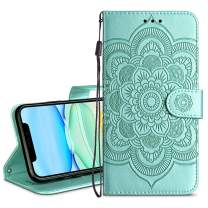 HianDier Wallet Case for iPhone 11 Card Holder Case Kickstand Flip Cover Embossed Mandala Flower Lanyard Protective Soft PU Leather Cover Case for 2019 Release iPhone 11 iPhone XI, Green