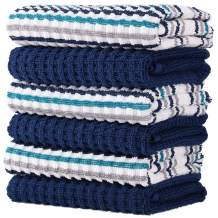 100% Cotton Kitchen Towel Set|Popcorn and Stripe Weave|Soft|Absorbent |Quick Drying|Multipurpose|Kitchen Towels and Dishcloths Sets|Tea Towels and Bar Towels|15x26|Pack of 6|Navy Blue Stripe and Solid