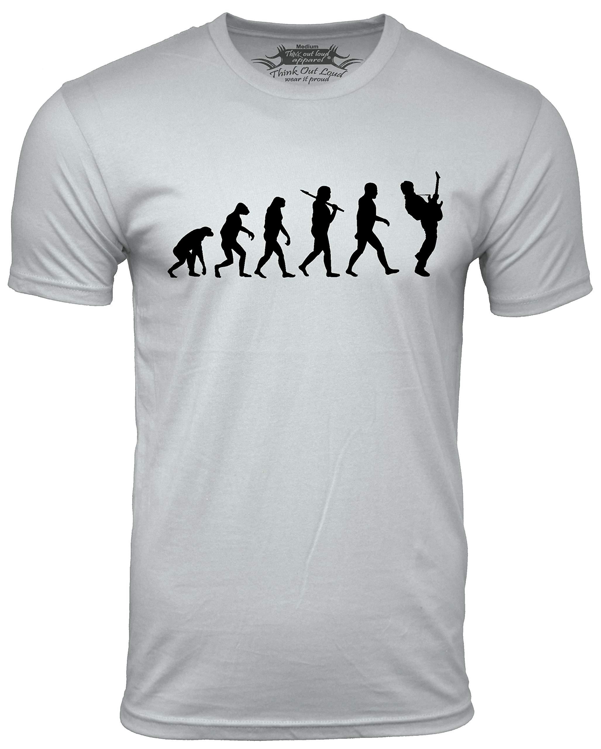 Think Out Loud Apparel Guitar Player Evolution Funny T-Shirt Guitarist Musician Tee T Shirt