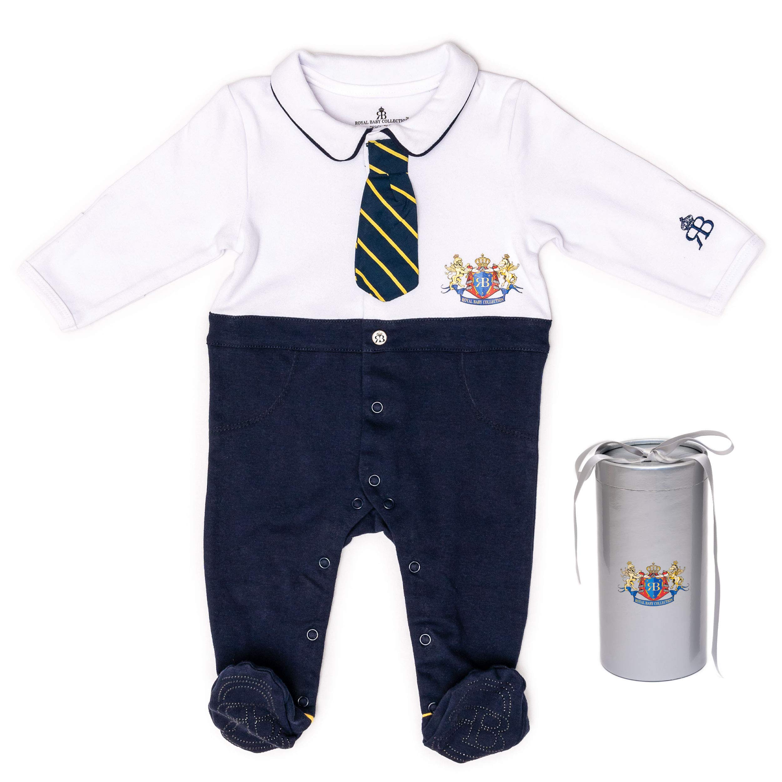 RB Royal Baby Organic Cotton Gloved-Sleeve Footed Overall, Footie in Gift Box (Little Man) White Navy