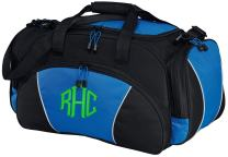 Personalized Monogrammed Gym Duffel Bag with Custom Text | Metro Travel Bag with Customizable Embroidered Monogram Design (Royal)