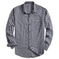 MISS RORA Men's Cotton Long Sleeve Plaid Flannel Button Up Casual Shirt