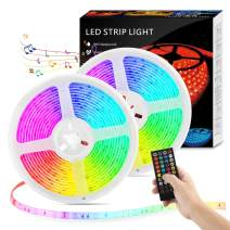 LED Strip Lights with Remote - 32.8ft LED Music Sync Tape Lights kit 5050 RGB Color Changing Light Strip with IP65 Waterproof, 300LEDs Rope Light for Bedroom, Room, Party, Mood Tape Lighting