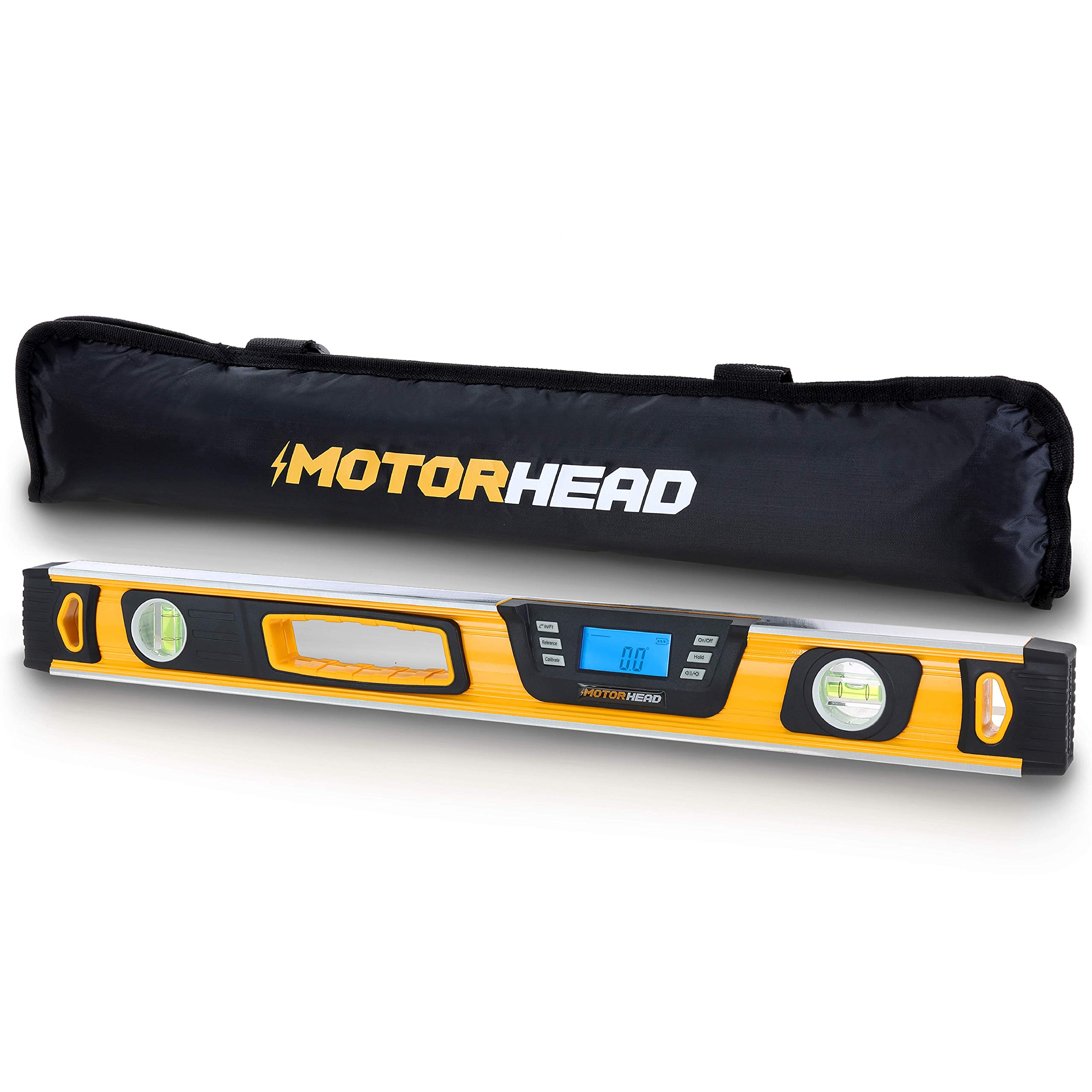 MOTORHEAD 24-Inch 0° - 180° SMART DIGITAL Level, LCD Screen, Audible Alerts, Water, Dust & Shock Resistant, Magnetic Bottom, Includes Bag, High-Visibility, Solid-Milled Aluminum, USA-Based Support