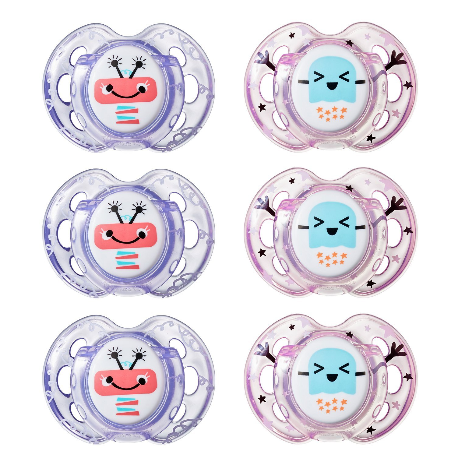 Tommee Tippee Closer to Nature Fun Style Orthodontic Baby Soothie Pacifier, 0-6 Months - Girl, 6 Pack