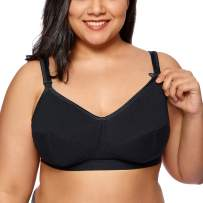 Gratlin Women's Plus Size Wirefree Cotton Maternity Nursing Bra Softcup Supportive