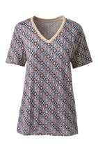 Lands' End Women s SS Relaxed Supima V Neck T Shirt Multi Southwest Geo Petite X-Small