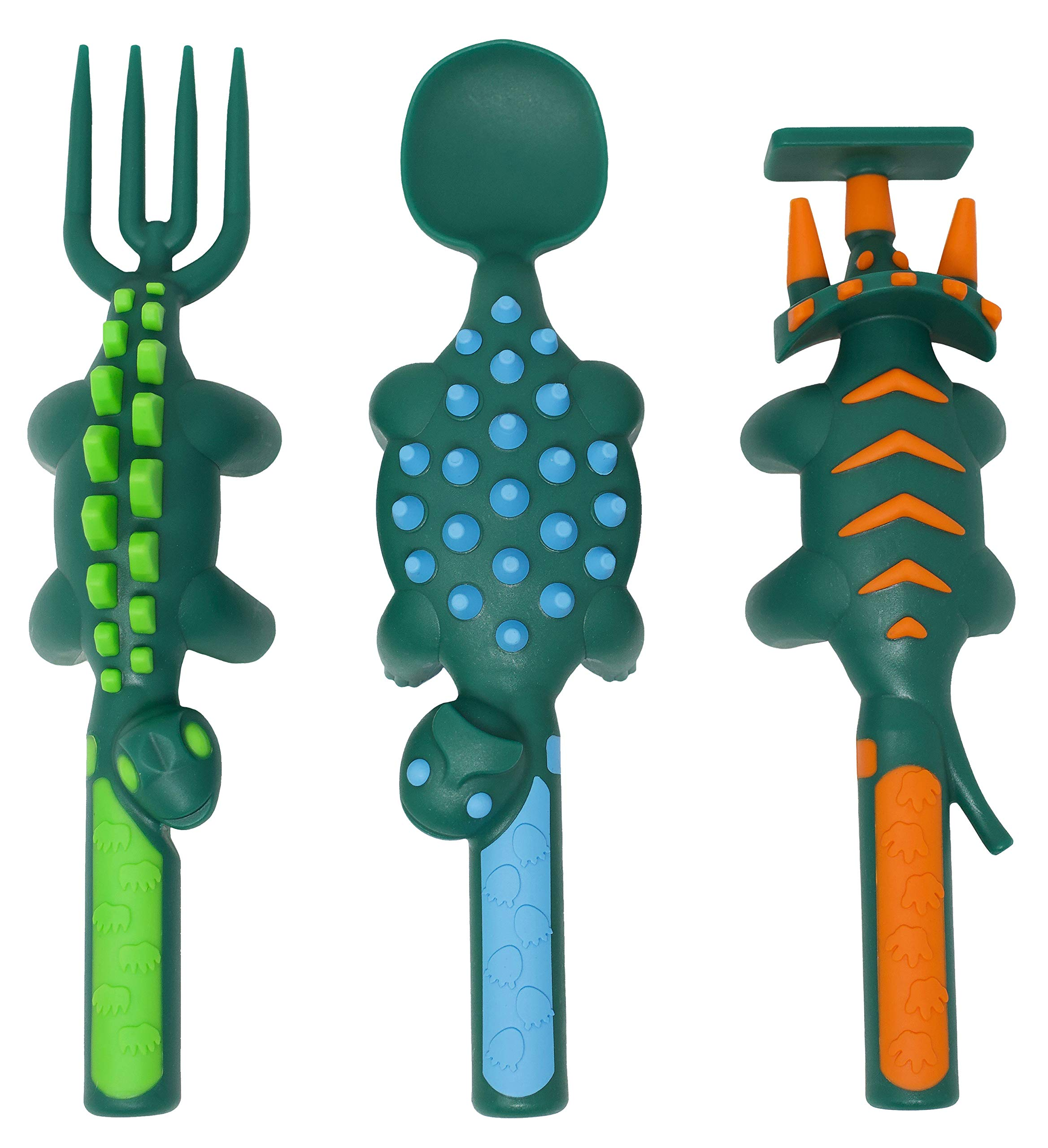 Constructive Eating Dinosaur Utensil Set for Toddlers, Infants, Babies and Kids - Flatware Toys are Made in The USA with FDA Approved Materials for Safe and Fun Eating, Green
