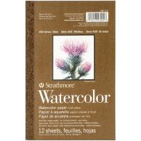 """Strathmore 298-103 400 Series Watercolor Pad, 5.5""""x8.5"""" Tape Bound, 12 Sheets"""