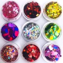 9 Boxes DIY Sequins Laser Nails Art Glitters Thin Paillette Flakes Stickers Colorful Confetti Sticker Manicure Nail Art Supplies Christmas Nail Manicure Decals Decoration with Three free boxes