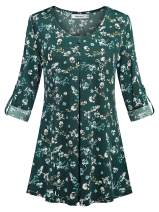 Helloacc Womens Roll up 3/4 Sleeve Shirt Scoop Neck Button Pleated Floral Tunics