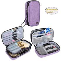 """Teamoy Travel Makeup Brush Bag(up to 8.5""""), Professional Cosmetic Artist Organizer Case with Handle Strap for Makeup Brushes and Beauty Supplies-Small, Purple (No Accessories Included)"""