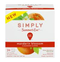 Simply Summer's Eve Cleansing Cloth, Mandarin Blossom, 14 Count