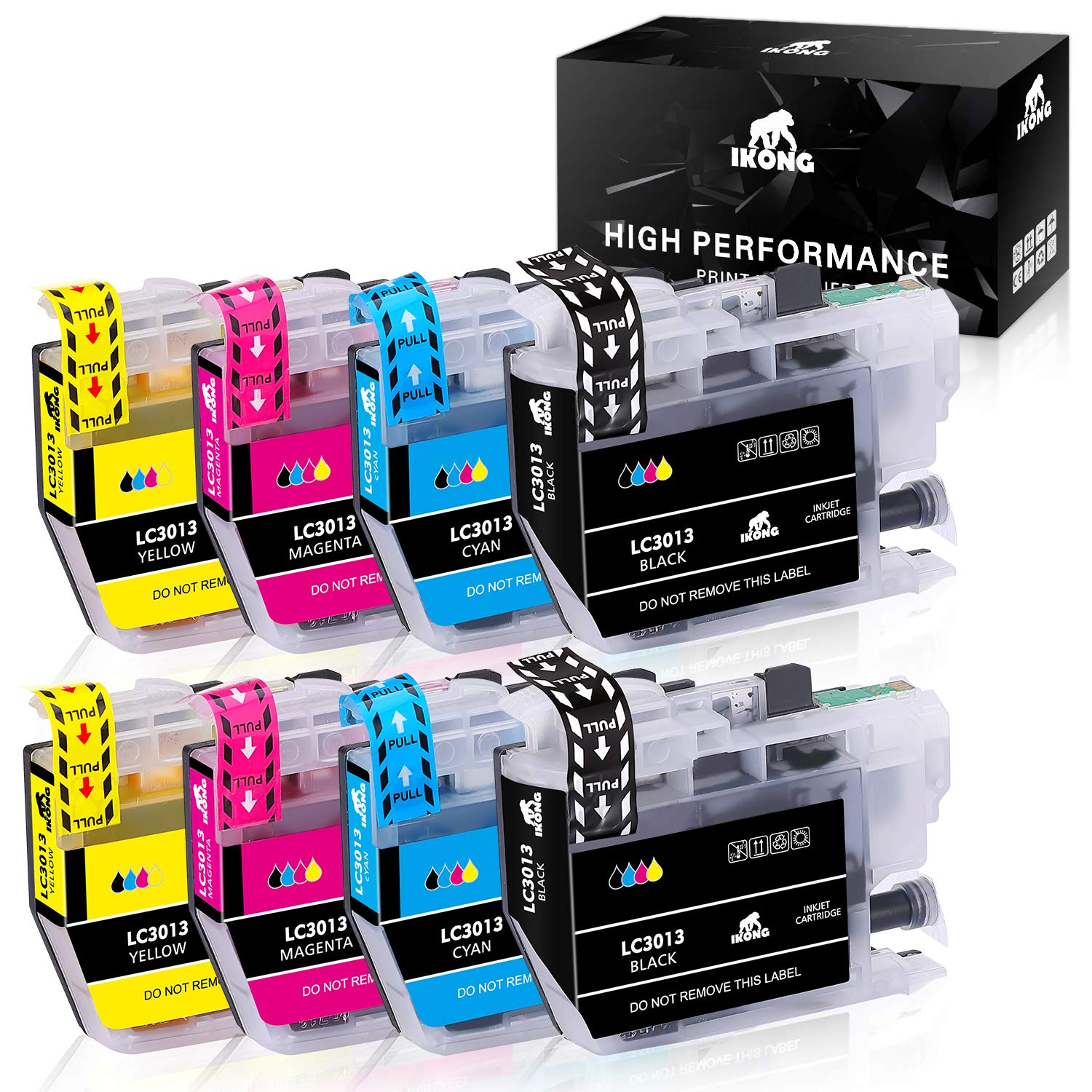 IKONG Compatible Replacement for Brother LC3013 LC3011 Ink Cartridges High Yield for Brother MFC-J491DW MFC-J895DW MFC-J690DW MFC-J497DW Printer (2 Black, 2 Cyan, 2 Magenta, 2 Yellow, 8-Pack)
