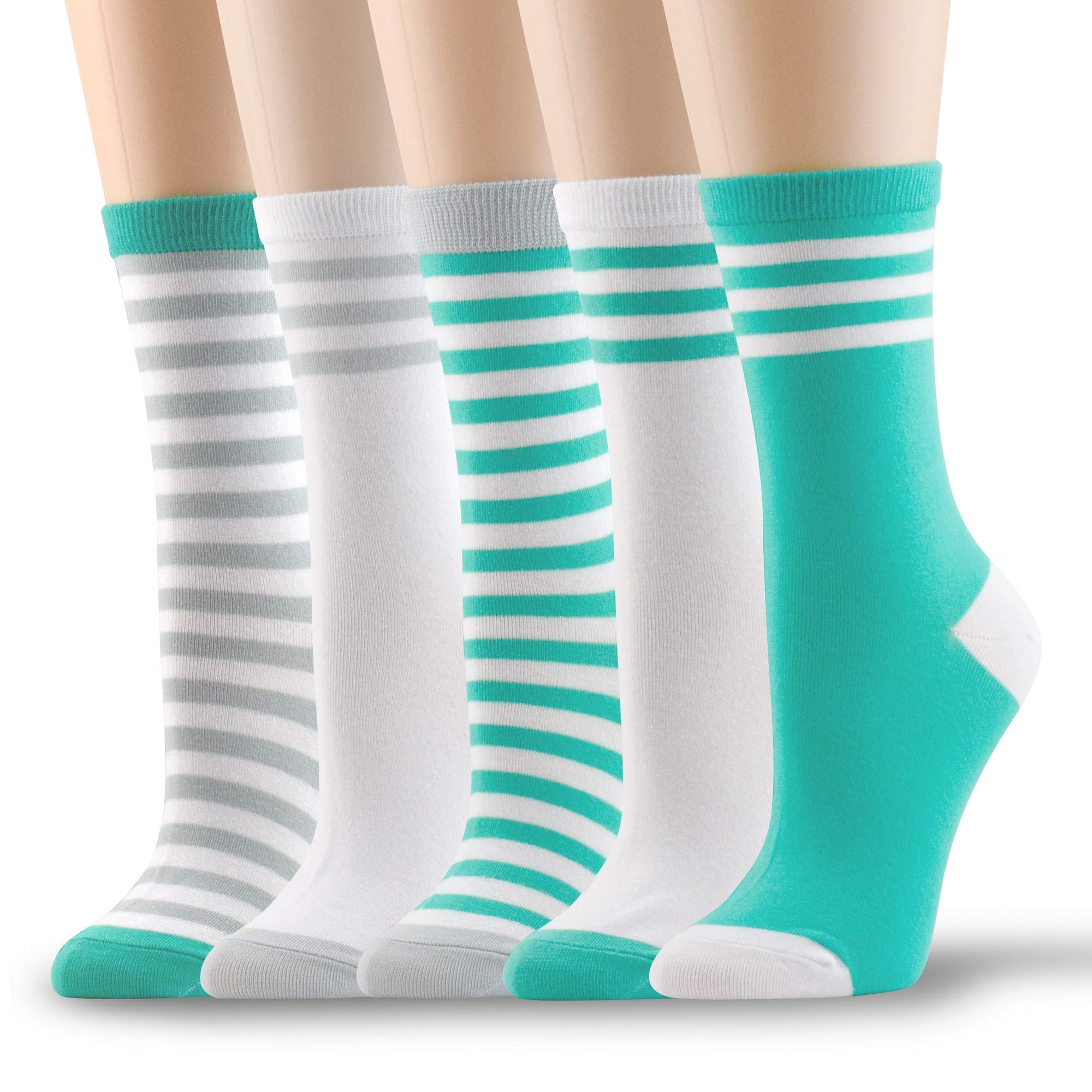 Socksmood 5 Pairs Women's Cotton Crew Socks Stripe Patterns Assorted Colors