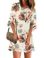 LookbookStore Women Casual Crewneck Mesh Panel 3/4 Bell Sleeve Loose Tunic Dress