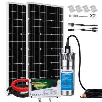 ECO-WORTHY 200W Deep Well Submersible Pump Kit with 6Ah LiFePO4 Battery, Large Flow Solar Water Pump + 200W Solar Panel Kit + 12V Battery for Deep Well, Irrigation, Human and Animal Using Water