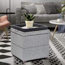 Joveco Storage Ottoman with Tray (Cube Silver)