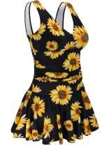 AONTUS Women's One Piece Plus Size Swimsuits Tummy Control Swimwear Bathing Suits