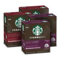 Starbucks by Nespresso Coffee Capsules for Nespresso Vertuo Machines — Dark Roast Variety Pack — 4 boxes (32 coffee pods total)