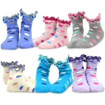 TeeHee Kids Girls Cotton Basic Crew Socks 6 Pair Pack