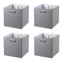 BAIST Fabric Storage Cubes,Fancy Big Collapsible Colored Linen Bed Drawer Storage Baskets Bins Organizers for playroom Books Toys-Set of 4,Gray …